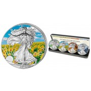 USA American Silver Eagle Four Seasons Colored 4 Four Coin Set 2013